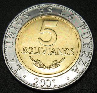 Bolivia 5 Bolivianos Coin 2001 Km 212 Bi Metallic Au photo