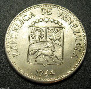 Venezuela 5 Centimos Coin 1964 Km 38.  2 Horse photo