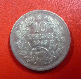 Chile Coin 10 Centavos,  Km166 Au 1940 photo