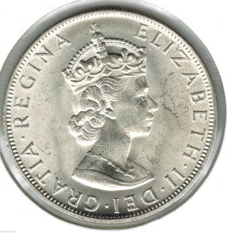 1964 Bermuda Crown Queen Elizabeth Silver Coin Great Detail Uncirculated photo