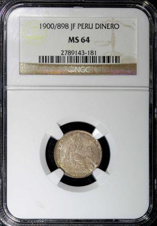 Peru Silver 1900/898 Jf Dinero Overdate Ngc Ms64 Km 204.  2 photo