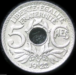 France - 1922 5 Centime Coin - Great Coin - Combined S&h Discounts photo