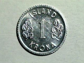 1980 Iceland 1 Krona,  Unc Scarce World Coin photo