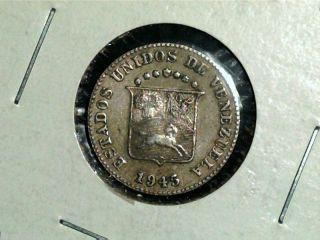 1945 Venezuela,  5 Centimos,  Scarce Old World Coin photo