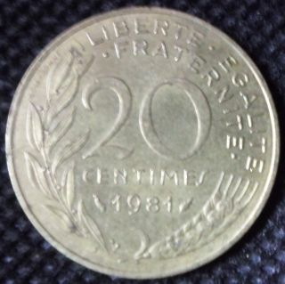 M50 Coin 20 Centimes 1981 France photo