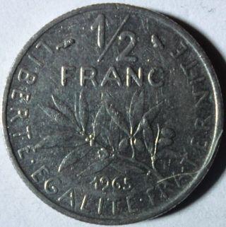 C72 Coin 1/2 Franc 1965 France photo