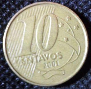 C47 Coin 10 Centavos 2001 Brazil Brasil photo