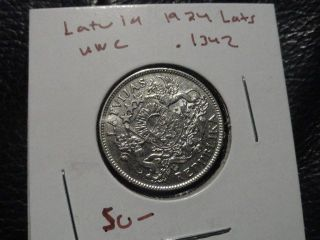 1924 Latvia Silver Lats Gem Unc Bu State Ms Gorgeous 90 Year Old Coin photo