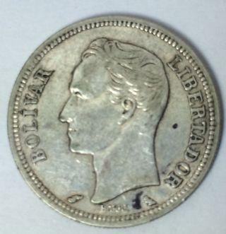 Venezuela 1960 - 1 Bolivar Silver Coin photo