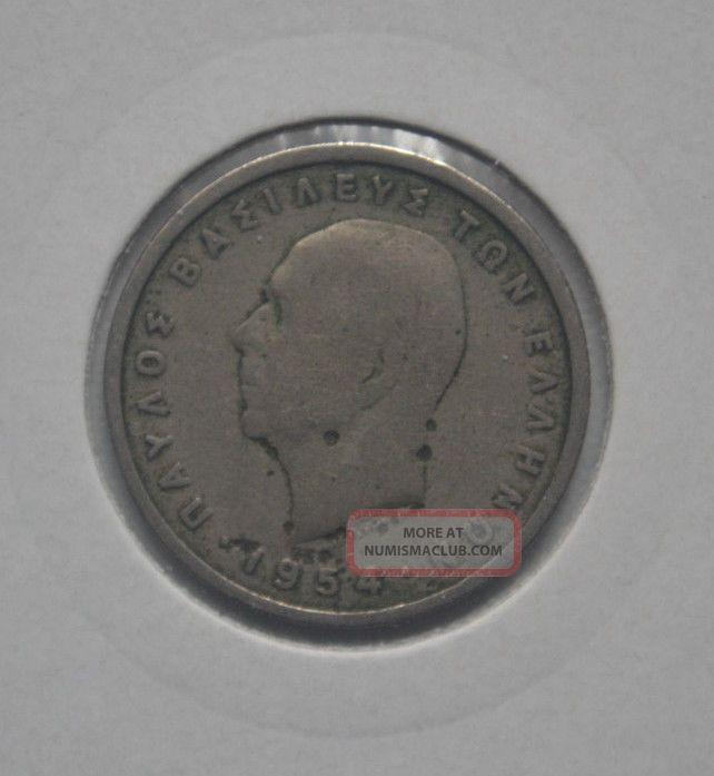 Greek Greece Coin 1 Drachma Drachmi 1954 2 Europe photo