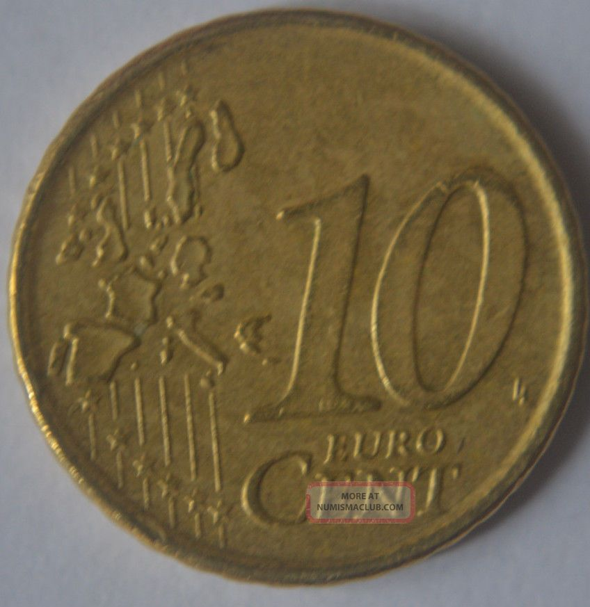 2002 Greece 10 Eurocent Coin Very Rare Gr1
