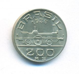 Brazil Coin 200 Reis 1936 Copper - Nickel Km 537 Bu photo