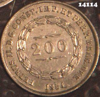 1854 Brazil 200 Reis Xf - Au Really 14114 photo