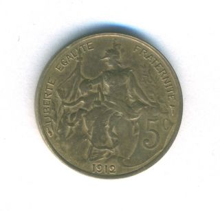 France Coin 5 Centimes 1912 Bronze Km 842 Au photo