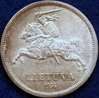 1936 Choice Km - 84 Lithuania Five Litai photo