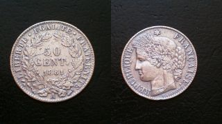 France / 1881 - A / 50 Cent.  / Silver Coin photo
