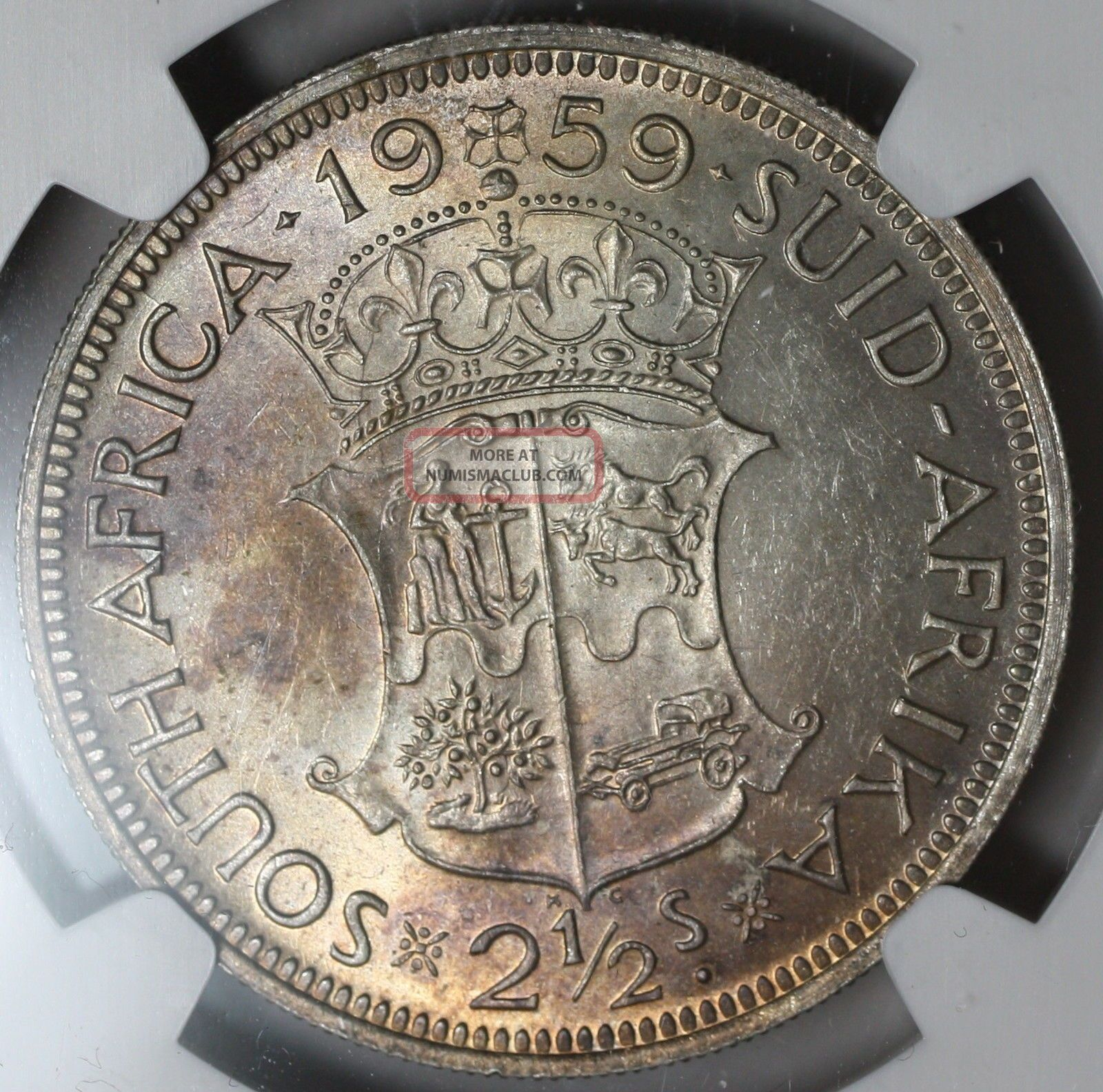1959 Ngc Au 58 South Africa Rare 2 1 2 Shilllings Coin
