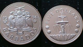 Barbados / 1974 - Five Dollars / Silver Coin photo