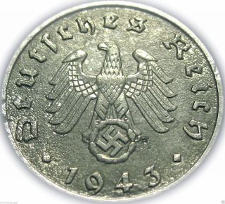 ♡ Germany - German Third Reich 1943e 5 Reichspfennig - Ww2 Coin W/ Swastika photo