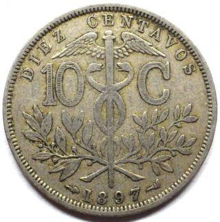Bolivia 1897 10 Cents Coin Km 174.  3 photo