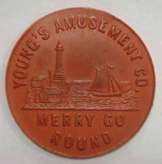 Young ' S Amusement Co.  Merry Go Round Atlantic City (n.  J. ) (red Vulcanite) photo