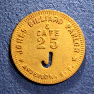 South Carolina Billiards Token - Jones Billiard Parlor & Cafe,  25¢,  Anderson,  Sc photo