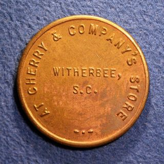 R7? South Carolina Lumber Token - Cherry & Co ' S.  Store,  10¢,  Witherbee,  S.  C. photo