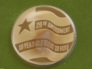 Voters National Committee 26th Amendment Solid Bronze Medal Franklin D6309 photo