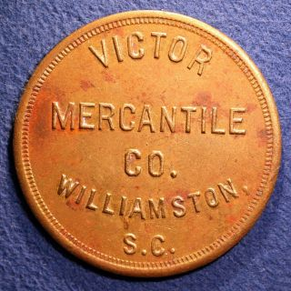 Rare South Carolina Token - Victor Mercantile Co. ,  $5.  00,  Williamston,  S.  C. photo