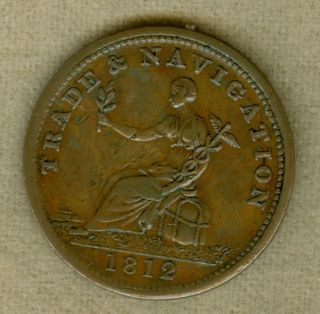 1812 Value In Circle,  Reverse Commerce Halfpenny Ns Token,  Ns - 19a,  W - 1655 photo