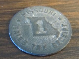 Vintage World War Ii Missouri Sales Tax Receipt One Token Zinc Coin 7/8