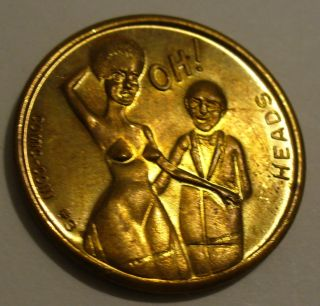 Comic - Coin 3 Risque Heads / Tails Gold Metal Token / Coin photo