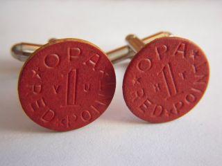 Vintage Wwii Opa Red Token Cufflinks photo