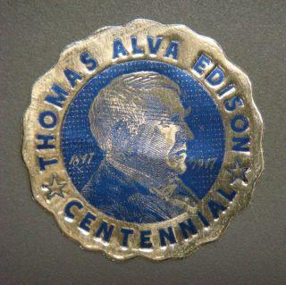 Gold Foil Stamp - Thomas Alva Edison Centennial 1847 - 1947 photo