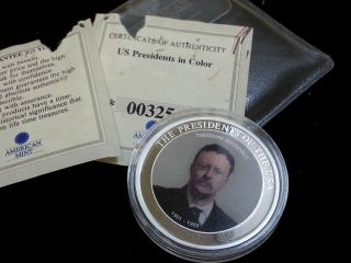The Presidents Of The Usa Theodore Roosevelt Token 2007 W/coa Slg191a photo