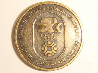1984 Olympics Sarajevo - Los Angeles Friendship Souvenir Coin/medal Uncirculated photo