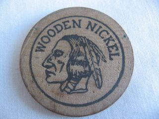 Vintage Wooden Nickel Coffee Token L & M Café Owensville Missouri Mo Indian Head photo