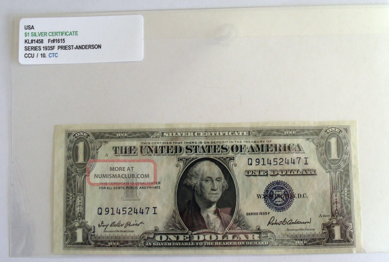 Us One Dollar Silver Certificate Series 1935f Issue Small Size Notes photo