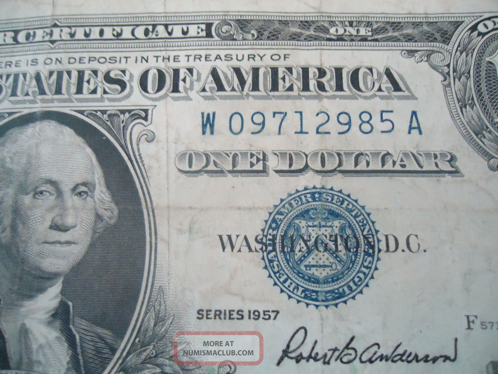 1957 One Dollar Silver Certificate Blue Note Robert B Anderson Sec ...