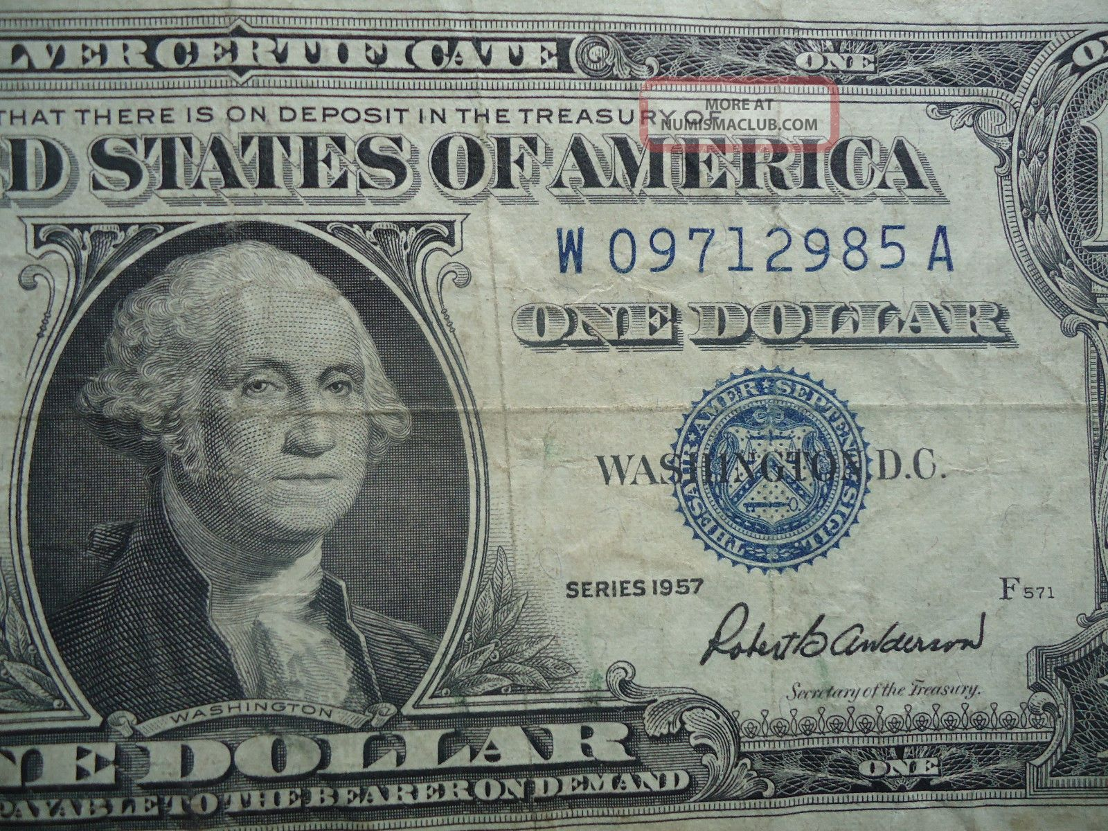 1957 one dollar silver certificate blue note robert b anderson sec 1957 one dollar silver certificate blue note robert b anderson sec of treasury 1betcityfo Images