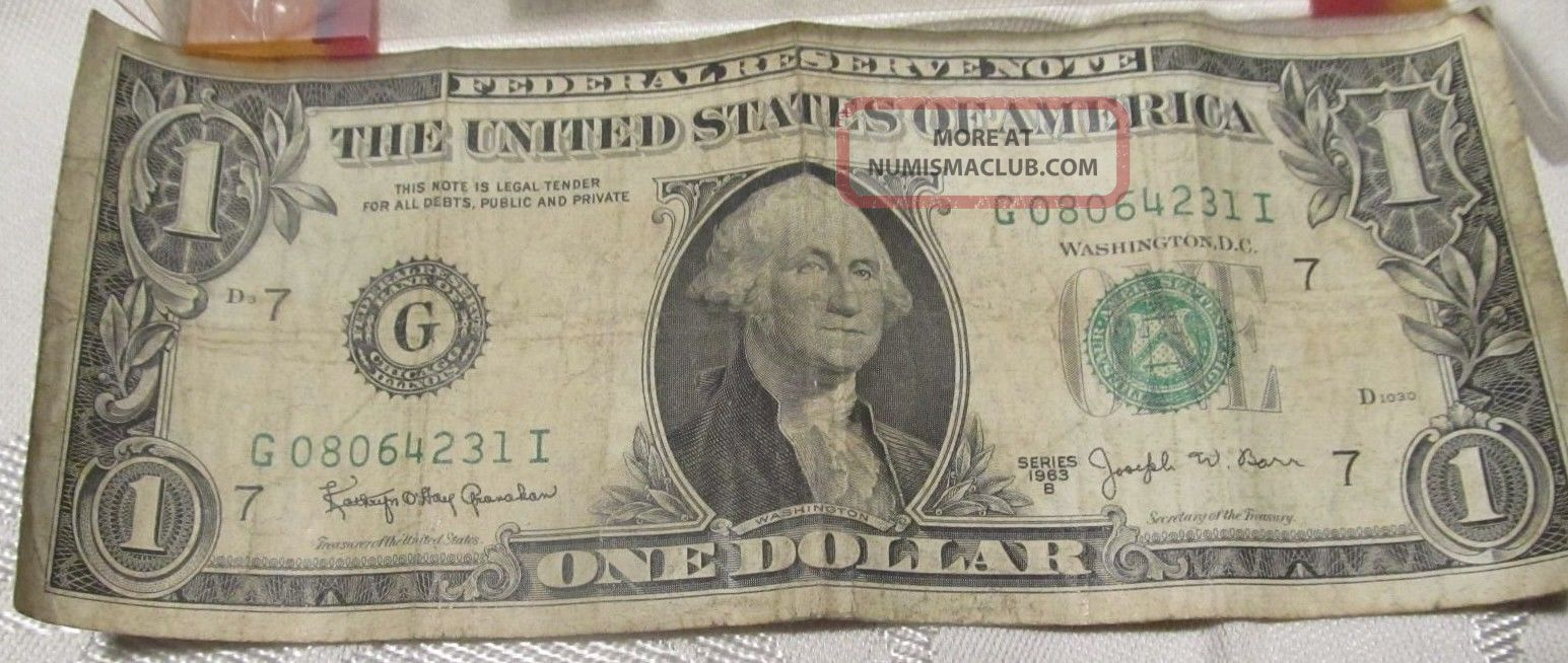Two 1963 B Joseph W.  Barr Dollars G08064231 I And L78295286 G Small Size Notes photo
