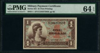 Mpc U.  S.  Military Payment Certificate Series 521 $1 First Printing Pmg 64 Epq photo