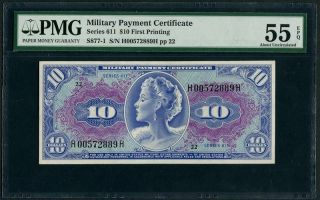Mpc U.  S.  Military Payment Certificate Series 611 $10 First Printing Pmg 55 Epq photo