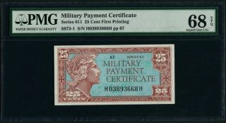 Mpc U.  S.  Military Payment Certificate Series 611 25 Cent First Printing Pmg 68 photo