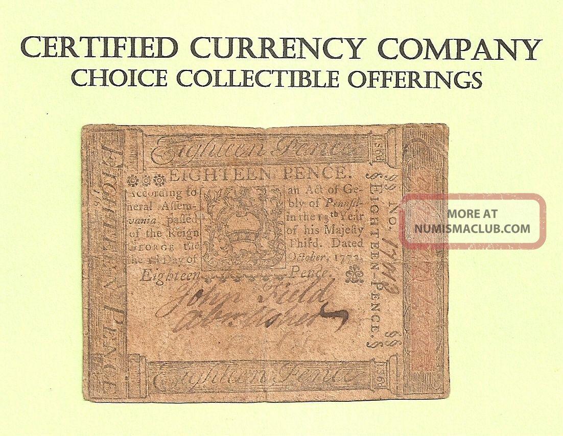 1773 Eighteen Pence Pennsylvania Colonial Pre - Revolution Example Paper Money: US photo