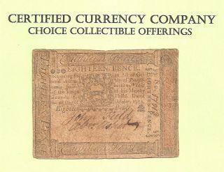 1773 Eighteen Pence Pennsylvania Colonial Pre - Revolution Example photo