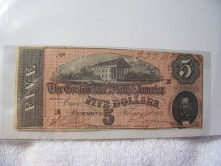 Authentic Obsolete Confederate $5 T69 563 Note Currency 1864 photo