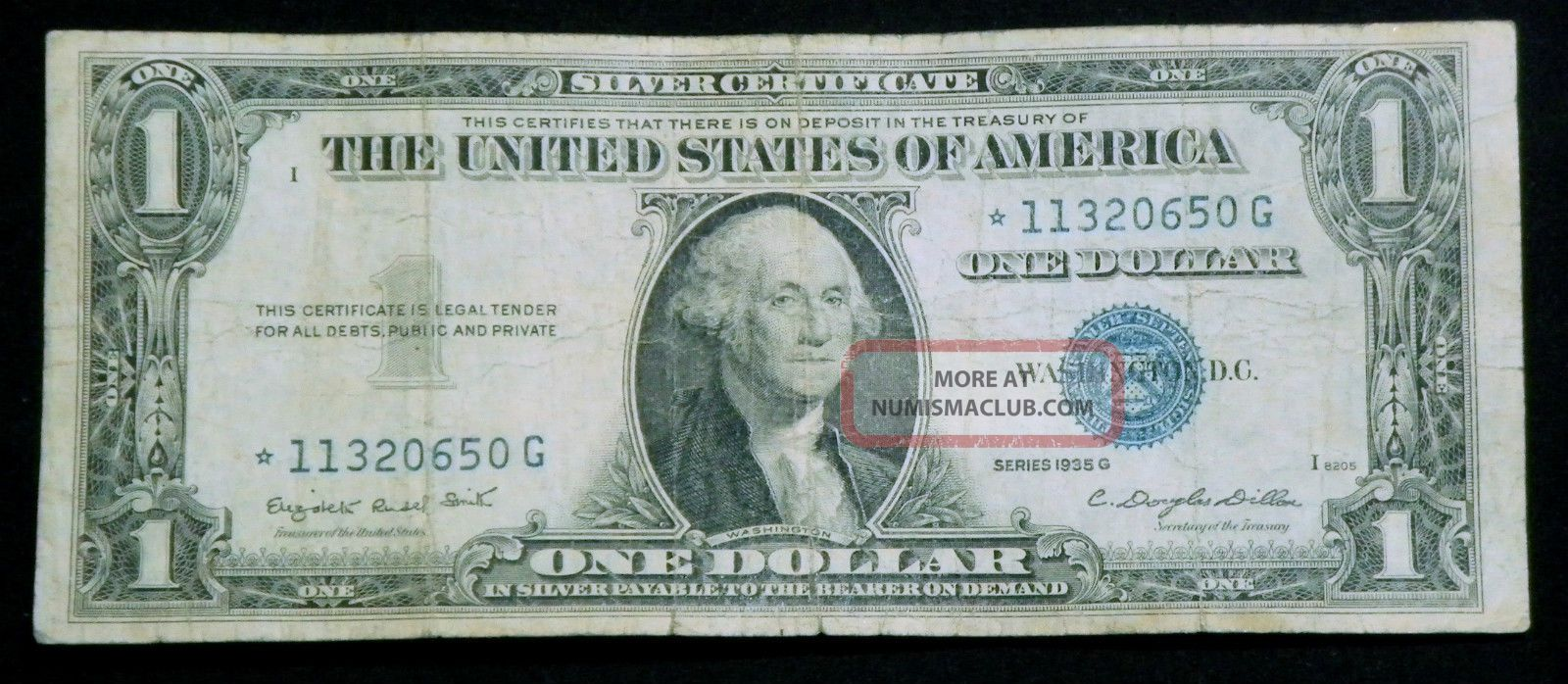 1935g Star 1 One Dollar Silver Certificate Blue Seal With Out Motto 2