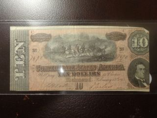 1864 $10 Confederate States Of America Richmond Virginia Low Serial Number photo