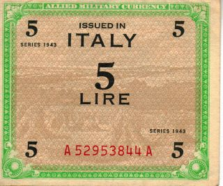 Italy 5 Lire 1943 Allied Military Payment World War Ii Unc.  Note photo